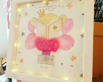 Light up fairy box frame reading fairy