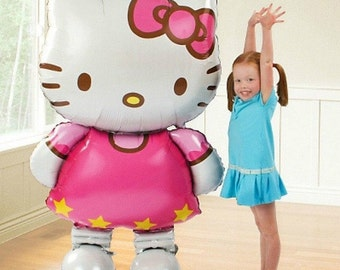 5pcs 116*65cm Large Size Hello Kitty Cat Foil Balloons Cartoon Birthday Wedding Globos Party Decoration Inflatable Air Ballons