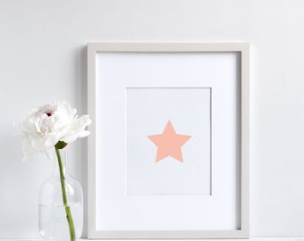 Star, digital art, wall art, kids room, nursery, pink, girls room