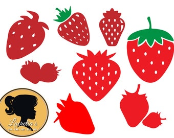 Strawberry SVG,  dxf,  clipart, SVG files for Silhouette Cameo or Circuit, Strawberry svg, dxf eps