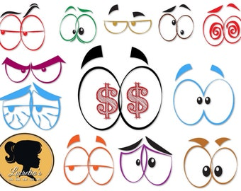 Comics Eyes Silhouette, Fun eyes SVG files for Silhouette Cameo or Cricut(zipped .eps .pdf .dxf .svg and .studio file) vector cutting files
