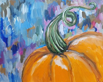 Original acrylic painting pumpkin fall autumn food wall art