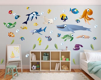 Ocean Themed Wall Stickers   Childrenu0027s Bedroom / Playroom Wall Stickers    Fish + Friends Wall Part 20