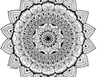 Mandala No. 1 Print, Handmade, Hand drawn, Black and White, Mandala Art, Geometric Art, Pattern, Symmetry, Wall Decor