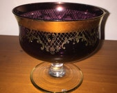 1970s stemmed maroon glass cup / bowl