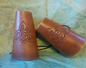 Handcrafted Leather Bracers with Celtic Triquetra-Celtic Knot-Renaissance-Fantasy