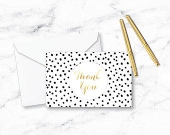 4x6 Dalmatian Dot Thank You Card - Home Decor, Minimalist Poster, Wall Art Print, Printable, Chic, Gold Foil, Fashion, Typography, Office