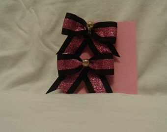 2 inch black and pink bows