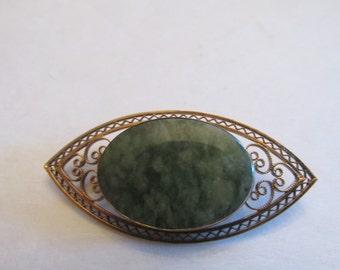 Vintage Signed GERI Jade Gold Filled Brooch