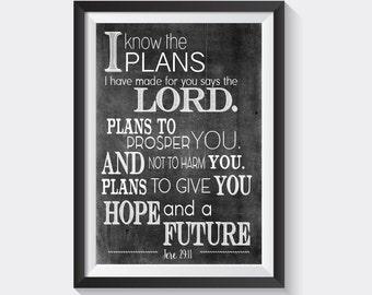 """Jeremiah 29:11 Bible Verse Print 8.5"""" x 11"""""""
