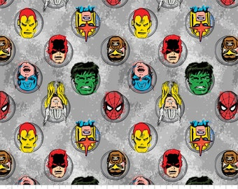 """Marvel Fabric/ Comics Fabric: Immortal Characters in GREY by Camelot Fabric  100% cotton fabric by the yard 36""""x44"""" (N161)"""