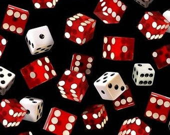 """Casino Fabric, Dice Fabric: Game of Chance Flying Dice 159 Black by Elizabeth's Studio 100% cotton Fabric by the yard 36""""x43""""  (ES168)"""