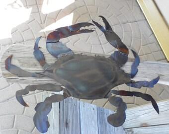 Blue Crab/Metal Sculpture/Metal Crab/Hanging Wall Art/Metal Fish Art