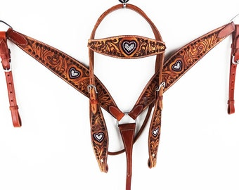 Engraved Leather Beaded Heart Western Headstall Horse Bridle Breast Collar Tack Set