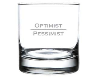 Optimist Pessimist - Laser Etched Glassware