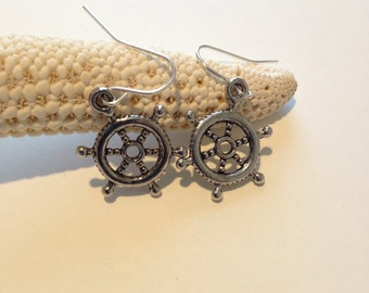 Ship Steering  Wheel Earrings