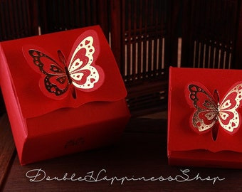 Wedding Favor Gift Boxes with Butterfly lids and Double Happiness - Chinese Wedding  (Qty 100) [B13]
