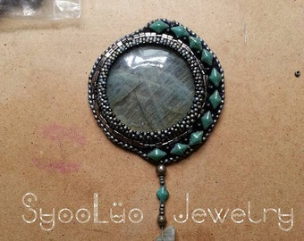 beads and hand embroidered Labradorite pendant