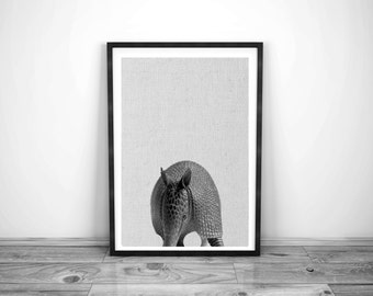 Armadillo , Nursery Kitty Animal Wall Art, Wall Art Print , Black and White Nursery Decor, Art Print , Animal Print, Nursery Printable