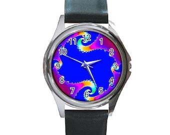 Unique wearable fractal art round watch