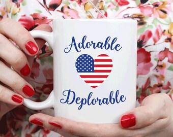 Deplorables Mug, Adorable Deplorable, Trump 2016 Election (M391)