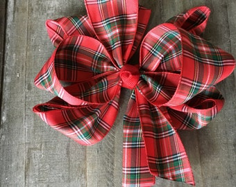 Plaid Holiday Hair Bow Texas Twist