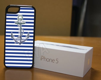 Blue and White Strip Nautical Case for iPhone 4/4s, 5/5s, 6/6s, 6/6s Plus, SE and Samsung S3 and S4