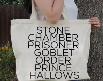 Harry Potter ~Stone~Chamber~Prisoner~Goblet~Order~Prince~HALLOWS~ Large Canvas Tote Beach/Grocery BAG