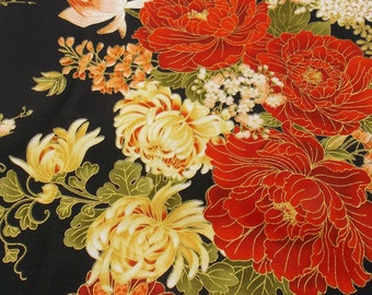 Asian Fabric Floral Print Fabric Flower Fabric Home Decor Fabric Pillow Fabric Table Runner Fabric Quilting Craft Fabric Cotton Fabric