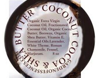 Coconut, Cocoa & Shea Body Butter Organic 8oz Aromatherapy Massage Body Butter