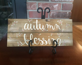 Hand Painted Autumn Blessing Wood Sign