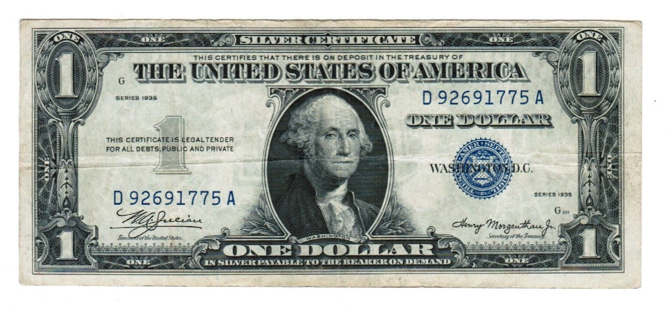1935 one dollar silver certificate fr 1607 double date da description very rare 1 1935 silver certificate xflitez Images