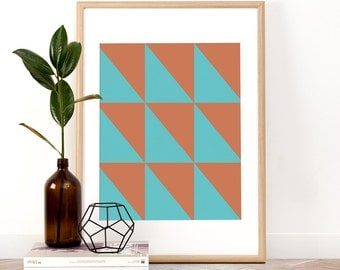 Geometric art print, Collage, Printable Wall Art, Wall Art, Digital Download, Screenprint, Minimal, Geometric, Modern, Triangle, Trendy