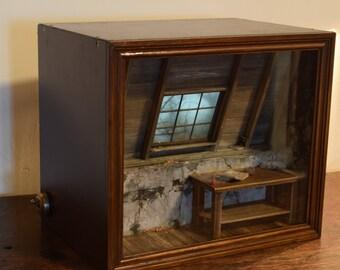 Taken back in 1884. Original handmade miniature model diorama shadow box.