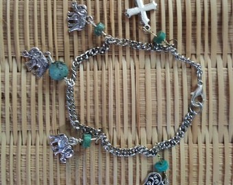 Chain, charm and turquoise bracelet