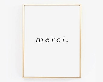 MERCI PRINTABLE | Thank You Wall Art | Word Art | Scandinavian Print | Black and White | Typography Wall Art | Minimalist Print