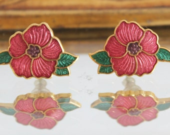 Vintage Gold Metal Pink Enamel Flower Floral Stud Earrings