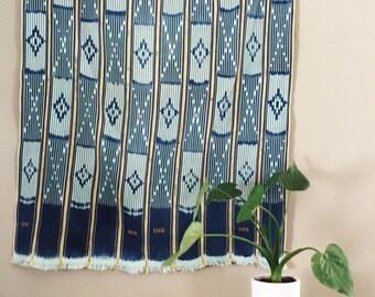 Authentic Vintage African Indigo Ikat Baule Cloth Fabric // Bright & Unique Colors