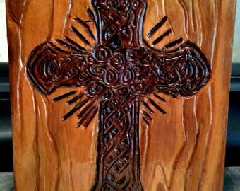 Hand carved Celtic Rose Cross