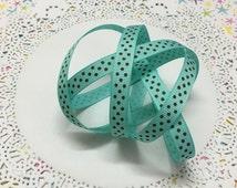 "3/8"" Aquamarine/Mint Green with Brown Polka Dots grosgrain ribbon - 2 yards x 3/8"" (10mm) wide"