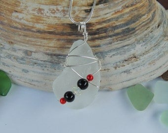 Wire Wrapped White Sea Glass Pendant with Red and Black Beads