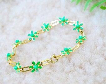 Vintage Green Flower Bracelet, Vintage Accessories, Vintage Bracelet, Vintage Jewelry, Bracelets