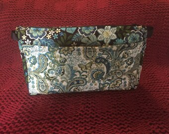 Cosmetic Bag blue and white floral print