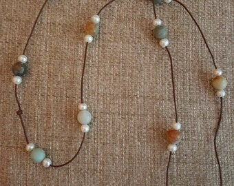 Gorgeous Freshwater Pearl and Amazonite Necklace