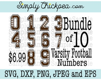 SVG, DXF, PNG, cutting file Jpeg and Eps: Football Varsity Bundle - Numbers - Football Design - Cameo Cricut Cutting File or Iron On