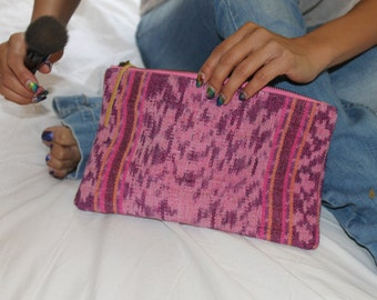 Ikat woven textile Boho Clutch with leather tassel FREE SHIPPING