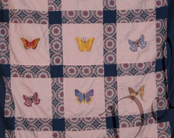 Butterfly quilted throw