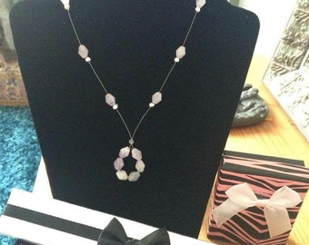 Semi-Precious Amethsyt Necklace and Earrings