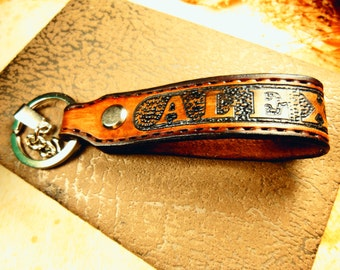 Personalized Key Leather Keychain Mens Keychain Personalize Keychain Personalized Key Fob leather key holder Brown Keychain