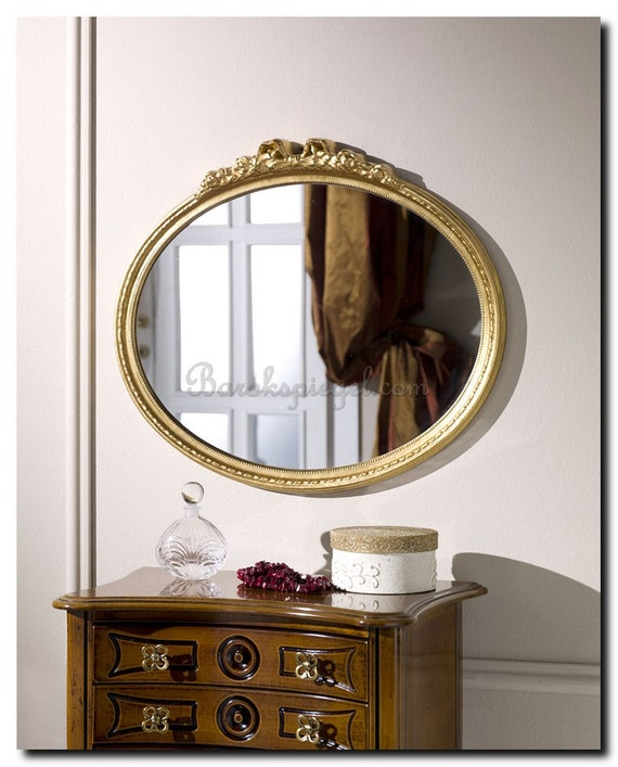 Oval mirror with bow baroque mirror wall mirror by for Baroque oval mirror